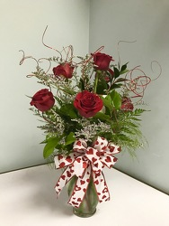 6 Red Roses in Vase from Ruby's Leesville Florist in Leesville, LA